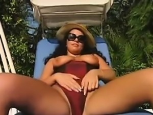 Slut In A Foursome Outdoors By The Pool