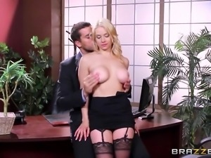 sexy sarah undresses at work place