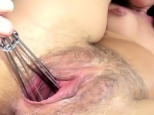 Luxury kitchen toy in her pussy pussy
