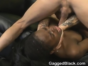 Black Ghetto Slut Getting Her Face Smashed On Leather Sofa