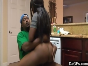 Ebony with booty ass gets fucked while she does dishes free