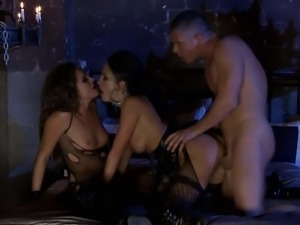 Two horny brunettes in black Alektra Blue and Tori Black gets banged in the...