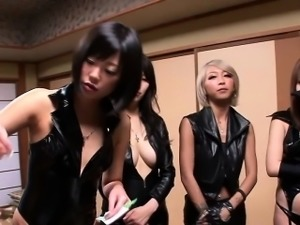 Japanese leather ladies jerking cock