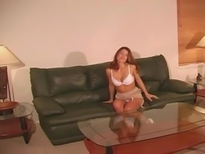 Isabella shows off pantyhose and satin panties