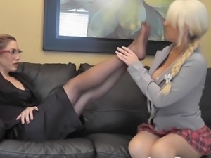 Student worships teachers nylon feet