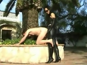 Sexy leather outfit strapon fuck