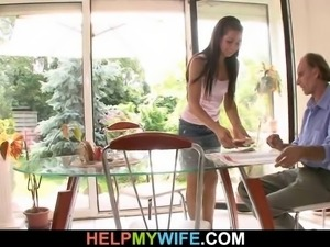 Sexy wife cuckolds her old husband