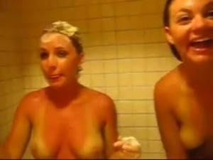sexy girls suprised in the shower