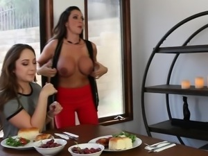 Hot mommy's can't wait but strip off at the dining