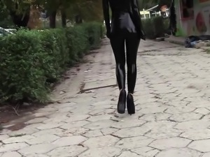 Ultra sexy goth girl wearing black lipstick in public