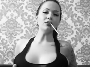 sexy brunette smokes in BW