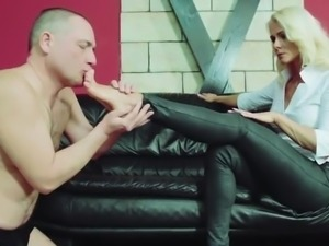 Lady Kyra severe FemDom Licking, sucking slave foot
