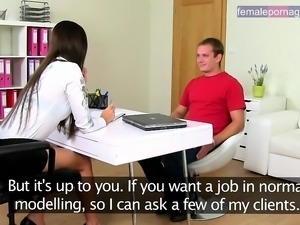 Female boss is interviewing a guy