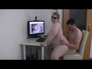 Fat blonde girl riding her boyfriend