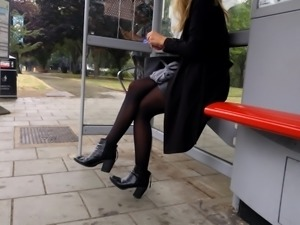 Sexy legs, thighs and leather mini skirt