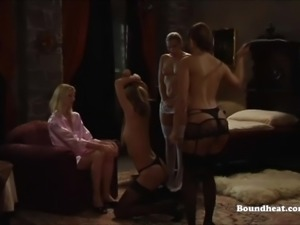 Naughty lesbian slave whipped by mistress