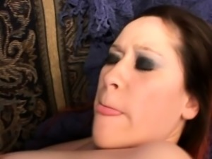 Pregnant gal chews on his rod, fingers herself and gets a facial