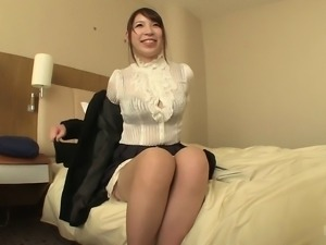 Japanese cutie with huge hooters giving her man a really nice blowjob