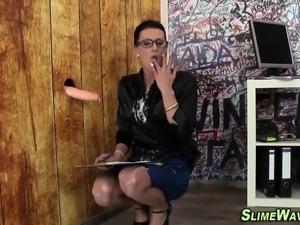 Gloryhole slut gets slime
