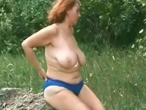 Big tit mature countryside play