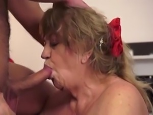 granny with huge tits loves his cum