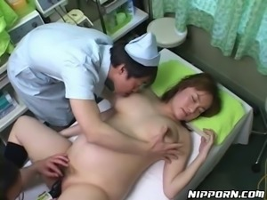 Pregnant pale and busty Asian patient gets banged with black toy