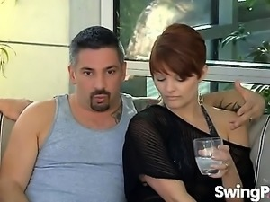 Hot reality show with horny swinger couple talking about sex