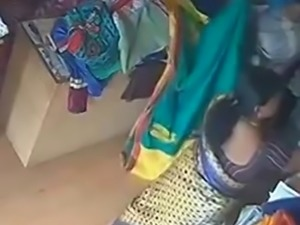 Satin silk saree aunty in shop
