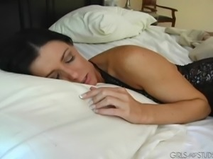 A sleeping brunette porn star gets to ride massive cock in reality shoot