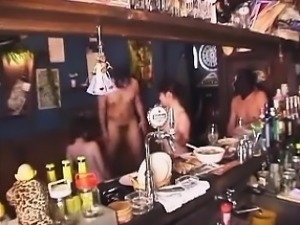 After hours at the bar turns into one wild and sexy orgy of