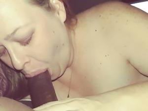 Pretty white blonde sucking black dick