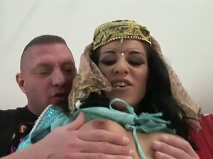 Sizzling Indian housewife gives deepthroat blowjob standing obediently on knees