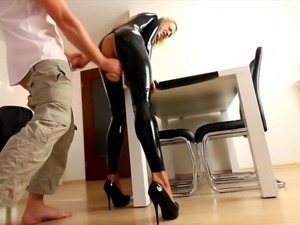 MILF in black latex - Extreme ANAL and facial