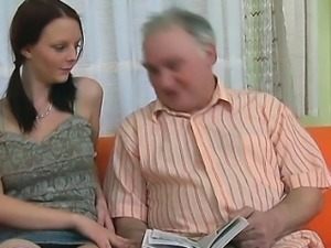 Delightful young sweetie enjoys rear fuck with old guy