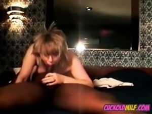 Cuckolds wife with BBC bull Sissy husband tapes them fuck