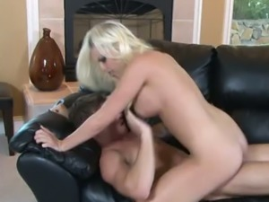 Buxom blond fuck doll Brittany Amber had stout cowgirl pose fuck with her...