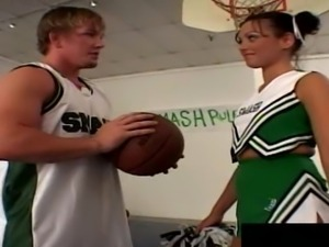 Basketball team has a blast with a brunette's hot body
