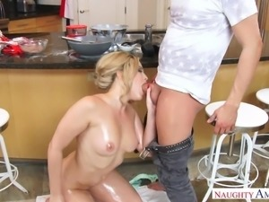 oiled and fucked in the kitchen
