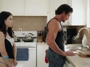 Tommy Gunn fucks cute teen gal Richelle Ryan in the kitchen