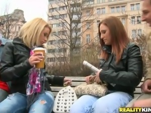 Lusty European divas are having fun in a group sex