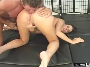 Guy with nice muscles wants to play with a chick's wet hole