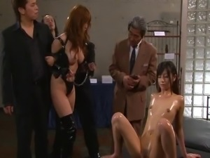Lusty Asian harlot enjoys pleasuring throbbing meat poles