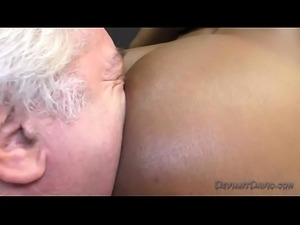 Jasmine Webb makes an Old White Pervert Lick Her Ebony Ass and Feet