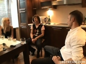 Teen fucked in a kitchen