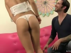 Kinky man pleases lusty brunette hoe Natalie Monroe with fingerfuck on pink...