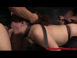 BDSM sub spitroasted in interracial trio