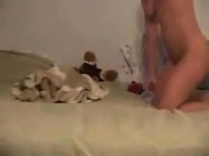 Blonde wife caught masturbating about the mattress