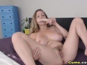 Busty Babe Fucks Her Pussy With Dildo To Squirt