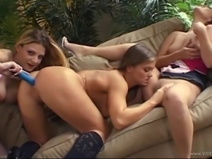 Delightful lesbian with big tits in stocking smashing her babes pussy using...