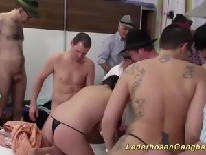 Crazy german lederhosengangbang with a extreme hot porno punk lady